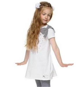 S&D Le Chic girls dress with bow C6115407 White