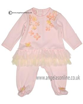 Kate Mack newborn girls long sleeve footsie 342BG Pink