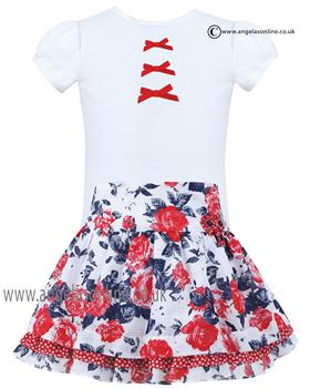 Sarah Louise girls top & skirt set 010805-010834 Wh/Rd