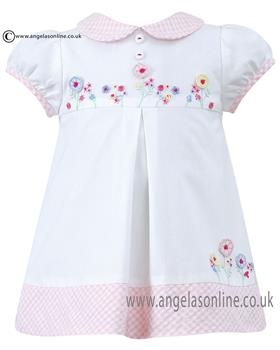 Sarah Louise girls dress D09123 Wh/Pk
