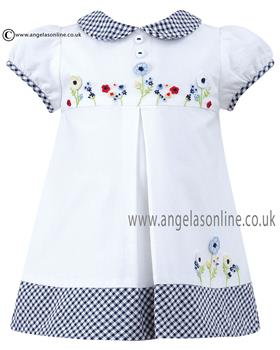 Sarah Louise girls dress D09123 Wh/Nv