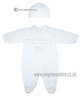 Co Co unisex babygrow, bib & hat CCS5501 White