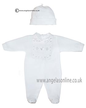 Co Co babygrow & hat CCS5502 White