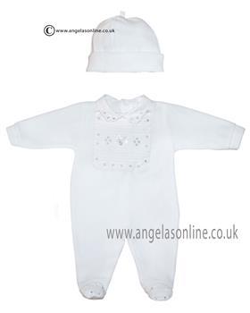 Co Co babygrow & hat CCS5502 White