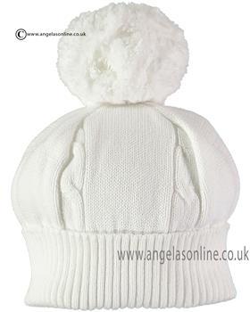 Emile et Rose boys cable bobble hat Fuzzy 4658wh-17 White
