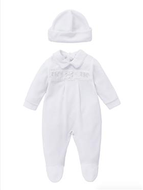 Co Co Baby Boys Babygrow & Hat A6006-17 White