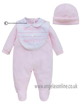 Co Co Baby Girls Babygrow 3 piece A6007-17 Pink