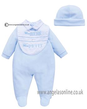 Co Co Baby Boys Babygrow 3 piece A6007-17 Blue