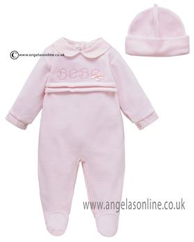 Co Co Baby Girls Babygrow & Hat A6009-17 Pink