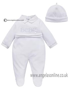 Co Co Baby Boys Babygrow & Hat A6009-17 White