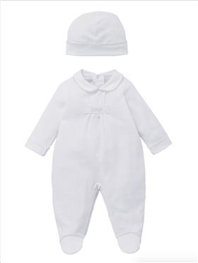 Co Co Baby Boys Babygrow & Hat A6010-17 White
