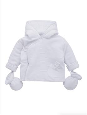 Co Co Baby Boys Jacket & Mittens A6013-17 White