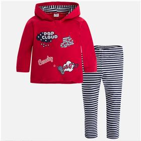 Mayoral girls 2 piece striped leg set 4741-17 Red