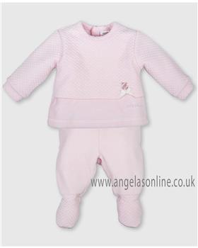 Tutto Piccolo baby girls velour two piece 3682-17 Pink