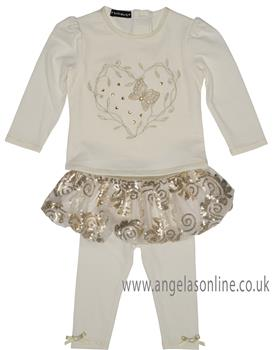 Kate Mack girls top and tutu legging set 577SG-17 Cream