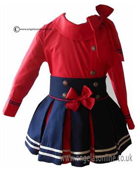 Loan Bor girls blouse & skirt 8928-17 Red