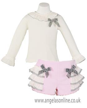 Miranda baby girls top & short set 22-0231-3C-17 Pink
