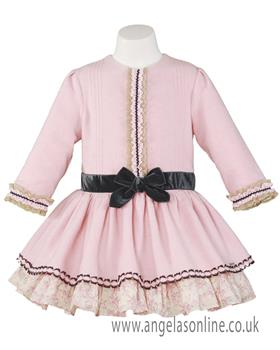 Miranda baby girls long sleeve dress 22-0235-v-17 Pink