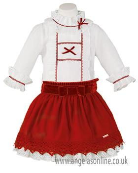 Miranda girls frill top & skirt 22-0243-2F-17 Red