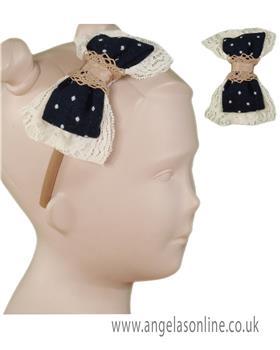 Miranda girls frilled bow headband 22-1715-241-17