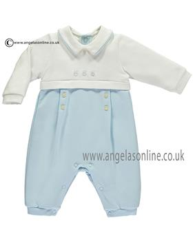 Emile et Rose boys all in one with pleats Lincoln 1733pb-17 Blue