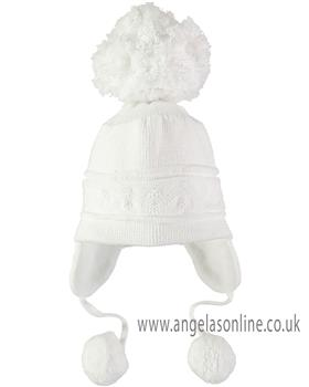 Emile et Rose boys cosy ear bobble hat Griffin 4713wh-17 White