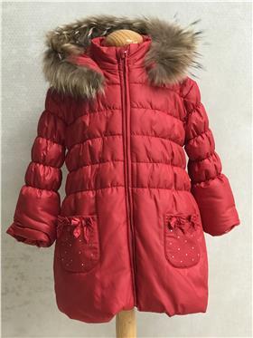 Bufi Girls Fur Trim Coat A10260A Red