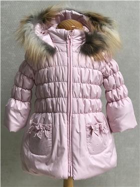 Bufi Girls Fur Trim Coat A10260A Pink