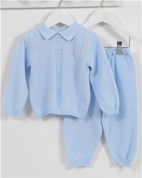 Pex baby boy knitted jumper & trouser Elliot B6945-17 Blue