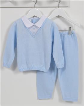 Pex baby boy knitted jumper & trouser Vinny B6964-17 BL-WH