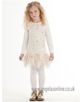Kate Mack girls dress & legging 575SG-582- Cream