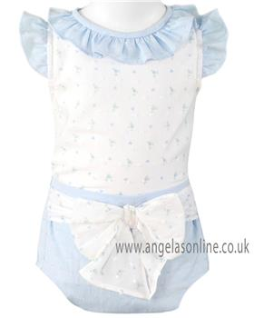 Miranda baby girls blouse & panty 23-0031-23 blue