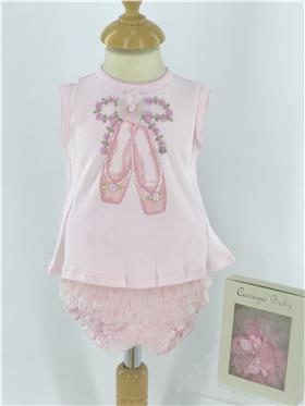 Kate Mack baby girls top & bloomers 354LS-18 Pink