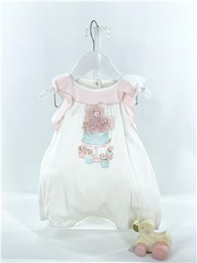 Kate Mack baby girls romper 363BQ-18 Ivory