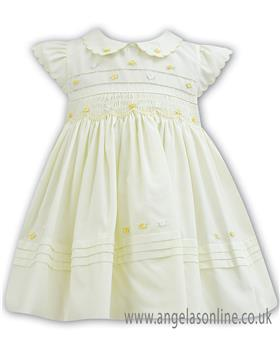 Sarah Louise baby girls dress 011100 Lemon