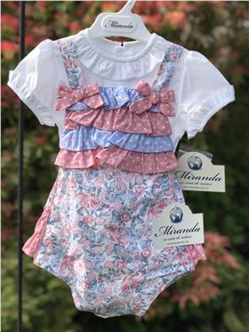Miranda baby girls blouse & dungaree 23-0040-23 Pink