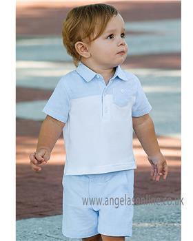 Dani boys blue short sleeve polo shirt & short D09200-09201