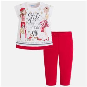 Mayoral girls legging set 3516-18 Red