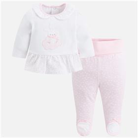Mayoral baby girls 2 piece footie 1510-18 Pink