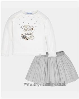 Mayoral girls top & skirt set 4980-18 grey