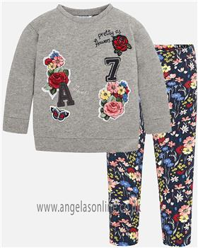 Mayoral girls top & leggings 4462-4708-18 grey