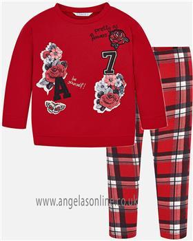 Mayoral girls top & leggings 4462-4708-18 red