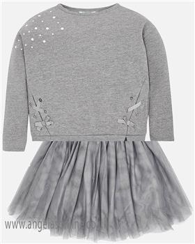 Mayoral girls top & skirt 7444-7916-18 grey
