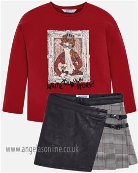 Mayoral girls top & skirt 4062-4916-18 BLK/RD