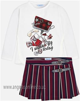 Mayoral girls top & skirt 4056-4918-18 Wine