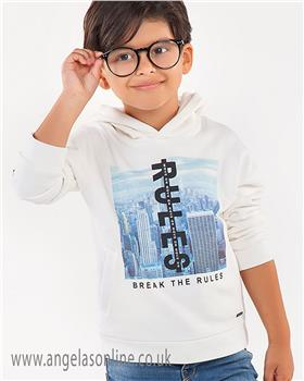 Mayoral boys hooded top 4440-18 cream