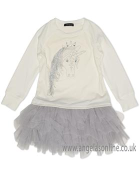 Kate Mack Girls Unicorn Dress 506UD-18 Cream