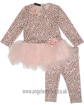 Kate Mack Girls Leopard Print Legging Set 519AM-18 Pink