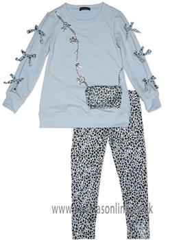 Kate Mack Girls Leopard Print Legging Set 520AM-18 Blue
