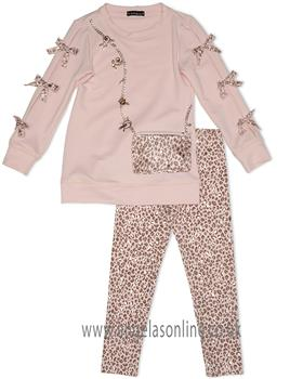 Kate Mack Girls Leopard Print Legging Set 520AM-18 Pink